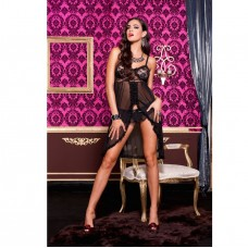 2PC SHEER LONG BALCK BABYDOLL WITH LACEBRA AND SATIN BOW