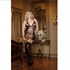 DREAMGIRL 2PC LACE LEOPARD PRINT SATIN AND STRECH PLUS SIZE