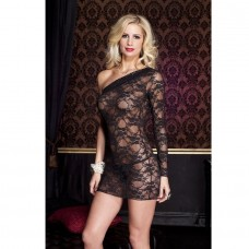 2PC LONG SLEEVE CHEMISE DRESS AND THONG SET BLACK PLUS SIZE
